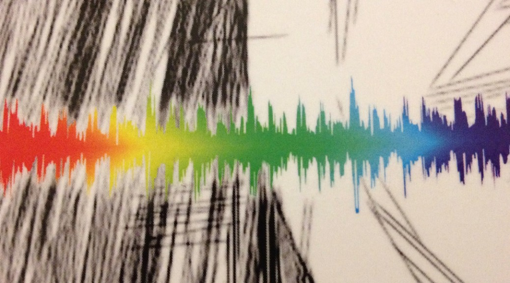 Cover detail of book Echolocation. Cover design by Olaf Hille. Rainbow-coloured sound wave on a black-grey-white background.