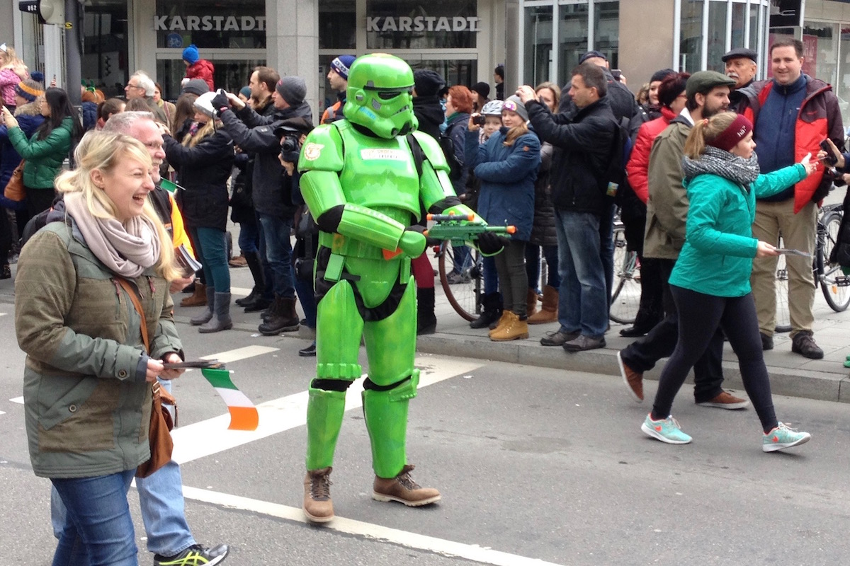 Star Wars Stormtrooper in green armour.