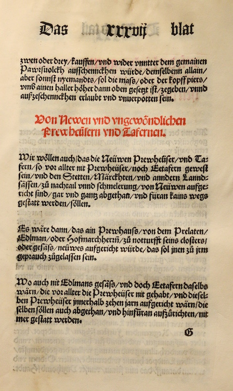 The second page of the original certificate of the Reinheitsgebot from 1516. Black and red letters in an old font on a yellowed parchment.